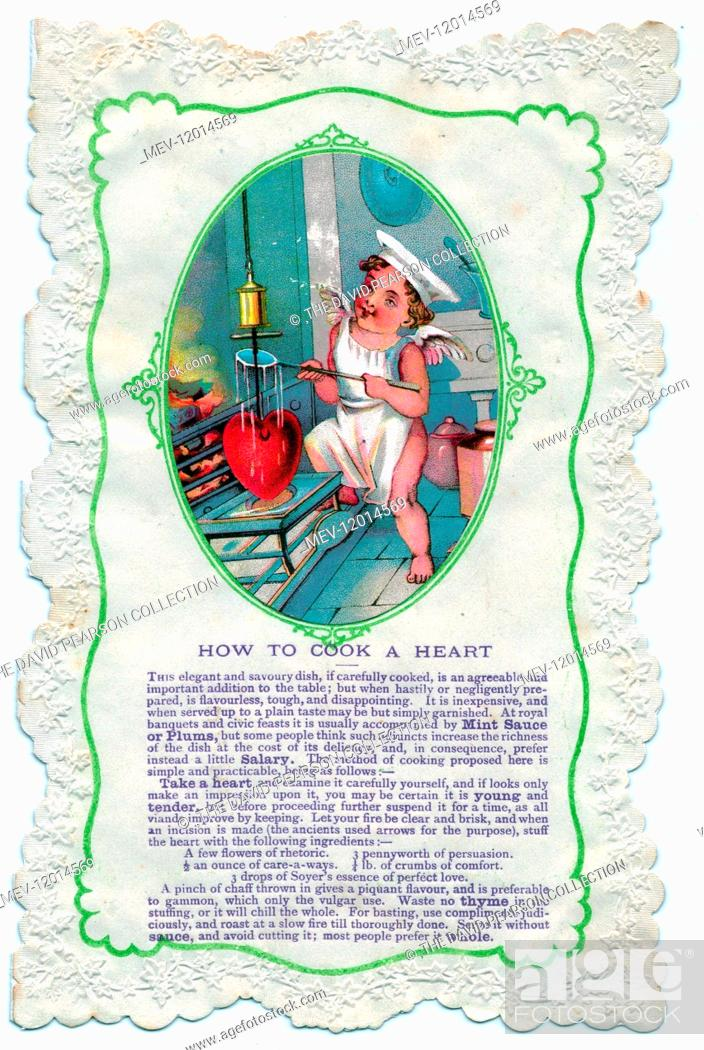 Stock Photo: Cupid with culinary guidance, How to Cook a Heart, on a comic Valentine card.
