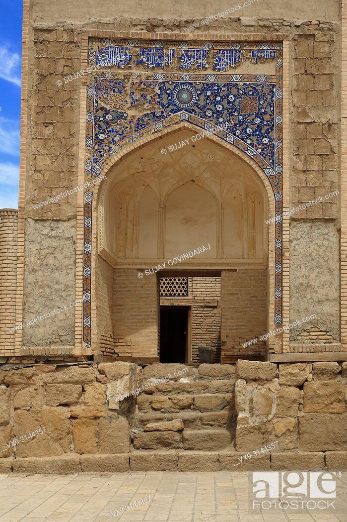 Stock Photo: Bukhara, Uzbekistan - August 28, 2016: Chor Bakr Necropolis, ancient small settlement of devishes and graves of Juibar Sheikhs.