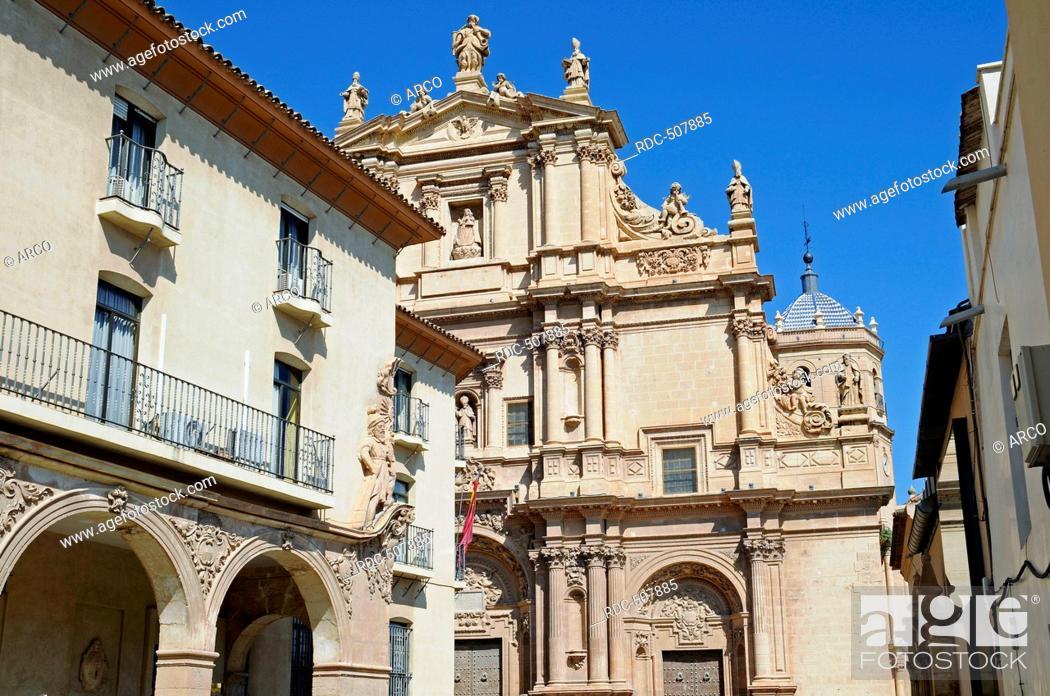 Stock Photo: house facades, San Patricio, church, historic city, Lorca, Murcia, Spain, Europe.