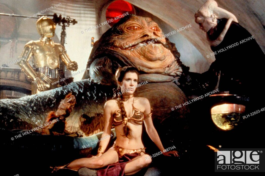 Stock Photo: C-3PO, Jabba the Hutt, and Princess Leia in Star Wars: Episode VI: Return of the Jedi (1983).