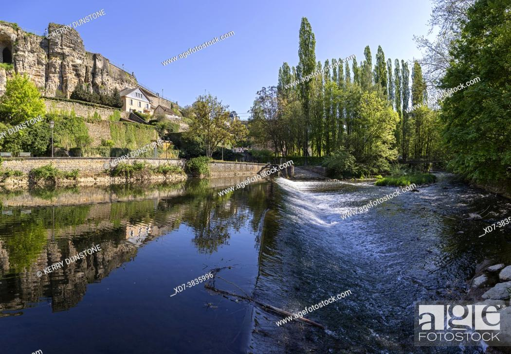 Stock Photo: Europe, Luxembourg, Luxembourg City, Weir on the Alzette River below the Casemates du Bock fortifications.