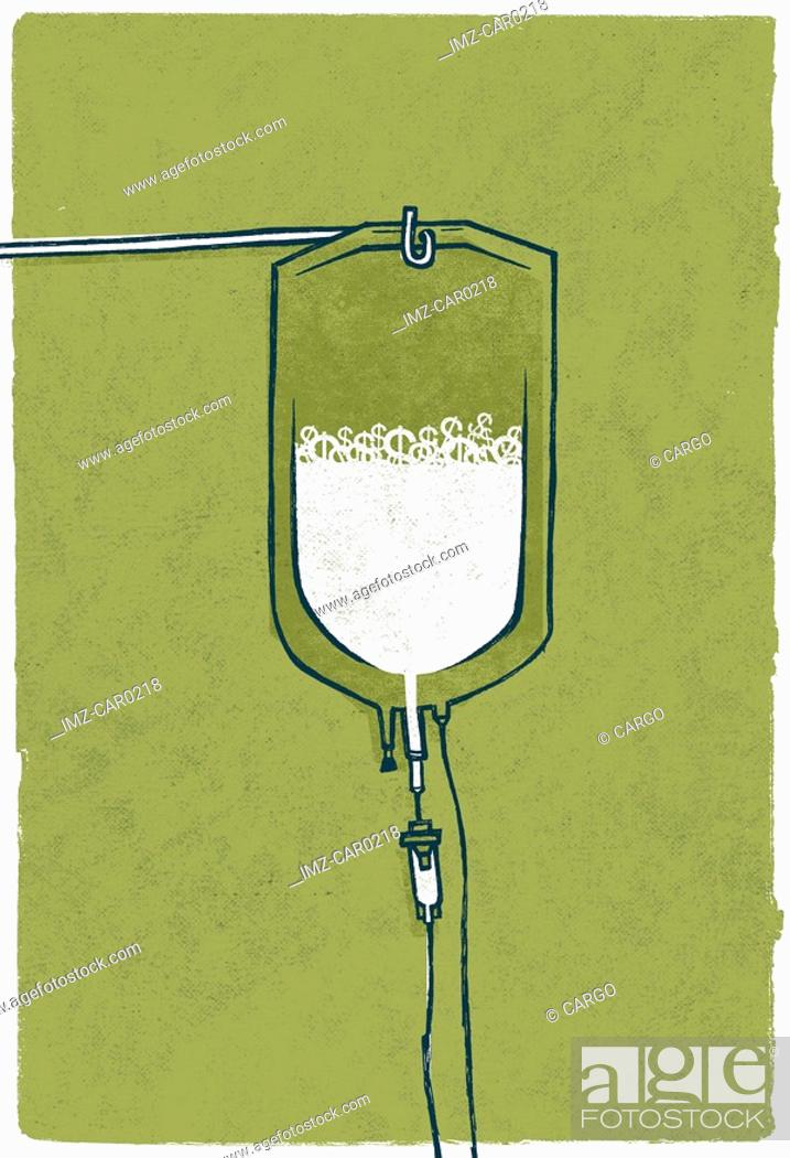Stock Photo: An IV bag against a green background.