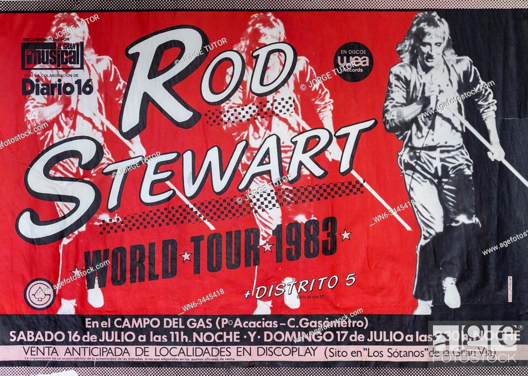 Stock Photo: Rod Stewart World Tour 1983, Madrid, .
