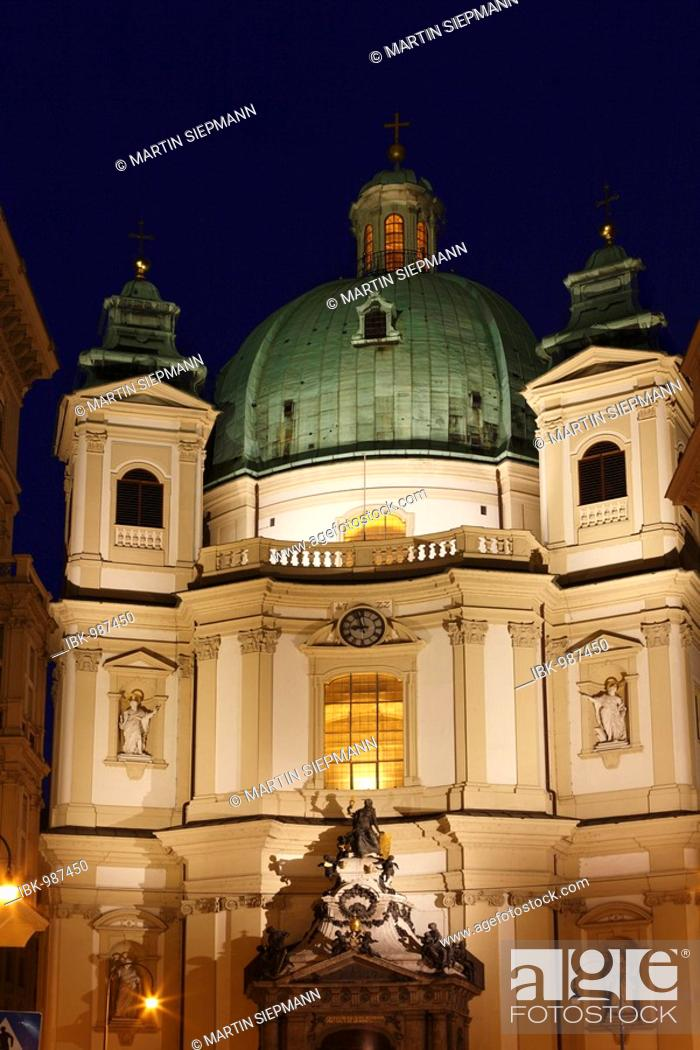 Stock Photo: Peterskirche, St. Peter's Church, Vienna, Austria, Europe.