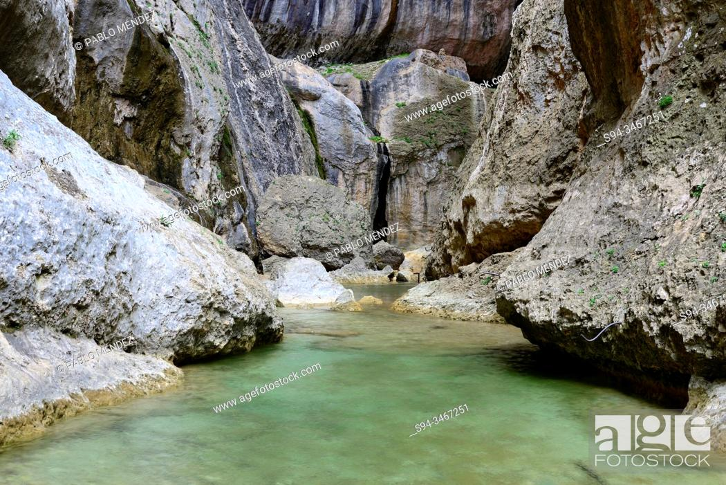 Stock Photo: Narrowness areas of Parrisal near Beceite, Matarraña region, Teruel, Aragon, Spain.