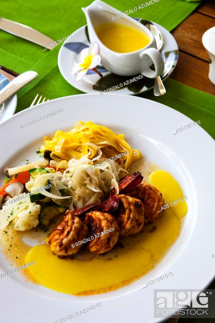 Stock Photo: Grilled Tiger Prawns with fennel sauce, mixed mushrooms and sauted vegetables  Mandarin Oriental Hotel, Silom District, Bangkok, Thailand, Southeast Asia, Asia.