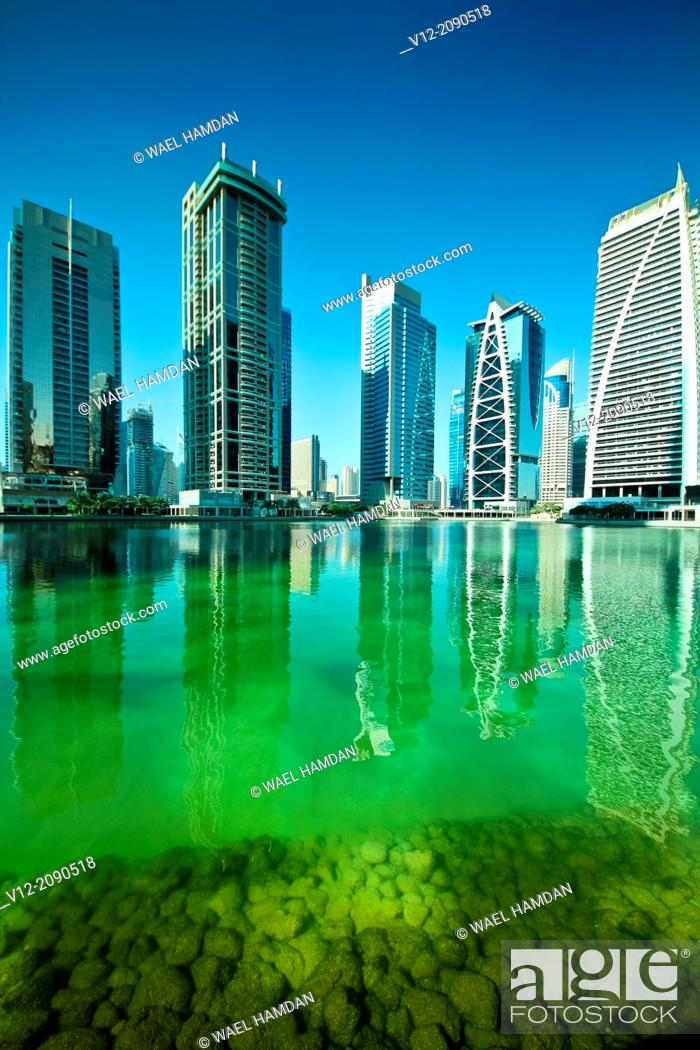 Stock Photo: Modern high-rise apartment towers at Jumeirah Lakes Towers JLT at Dubai, UAE.