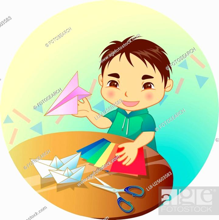 Stock Photo: round table, paper plane, shear, colored paper, paper ship, student.
