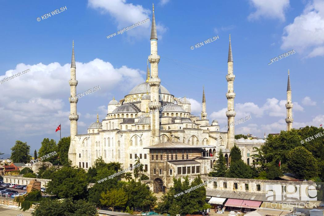 Stock Photo: Istanbul, Istanbul Province, Turkey. The Sultan Ahmet or Sultanahmet Mosque, also known as the Blue Mosque. The mosque is part of the Historic Areas of Istanbul.