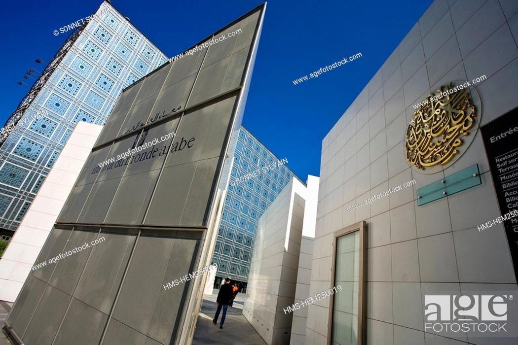Stock Photo: France, Paris, Institut du Monde Arabe Arab World Institute by architect Jean Nouvel and Architecture studio.