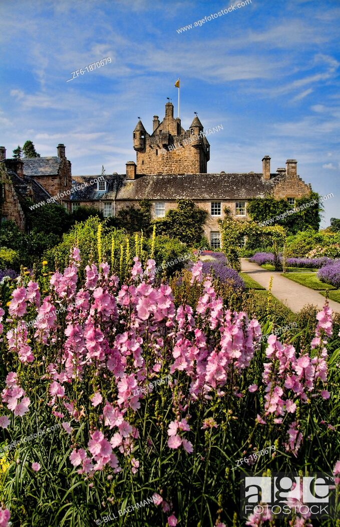 Stock Photo: Beautiful gardens and famous castle in Scotland called the Cawdor Castle in Cawdor Scotland.