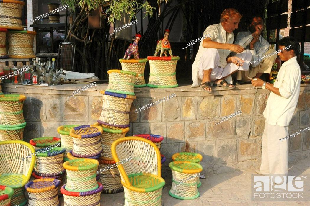 Delhi India Handicrafts On Sale At Dilli Haat Market Stock Photo