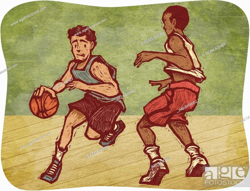 Stock Photo: Two young men playing basketball.