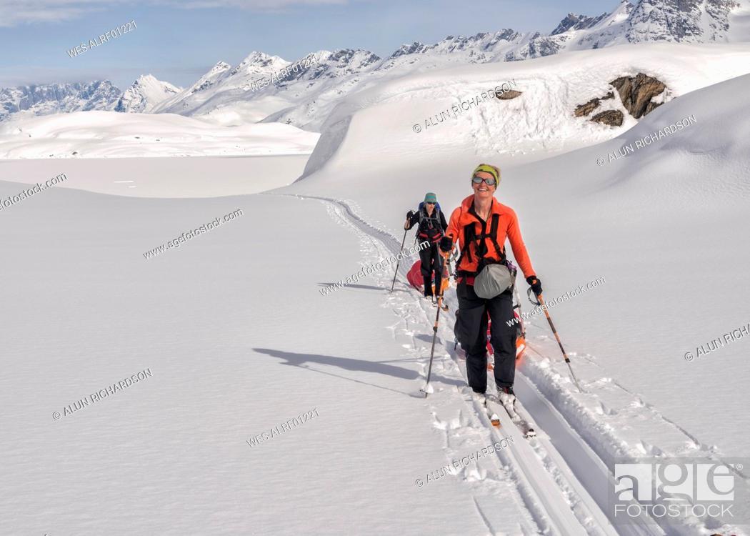 Stock Photo: Greenland, Schweizerland Alps, Kulusuk, Tasiilaq, female ski tourers.