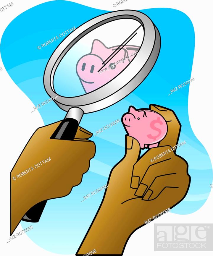 Stock Photo: Hands holding magnifying glass whild looking at a small piggy bank.