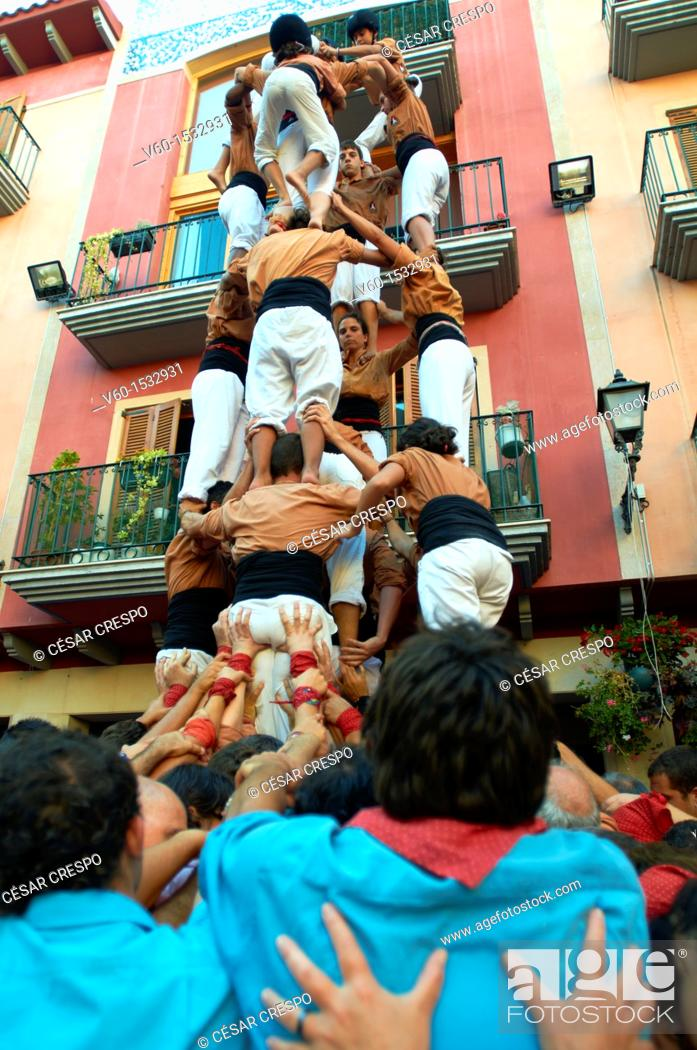 Stock Photo: -Human Towers- Castellers Festival, Cambrils, Catalonia (Spain).