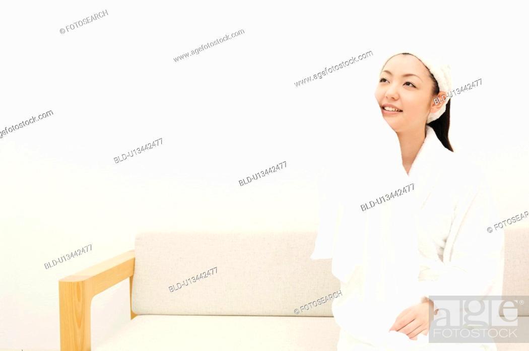 Photo de stock: Woman after taking a bath.