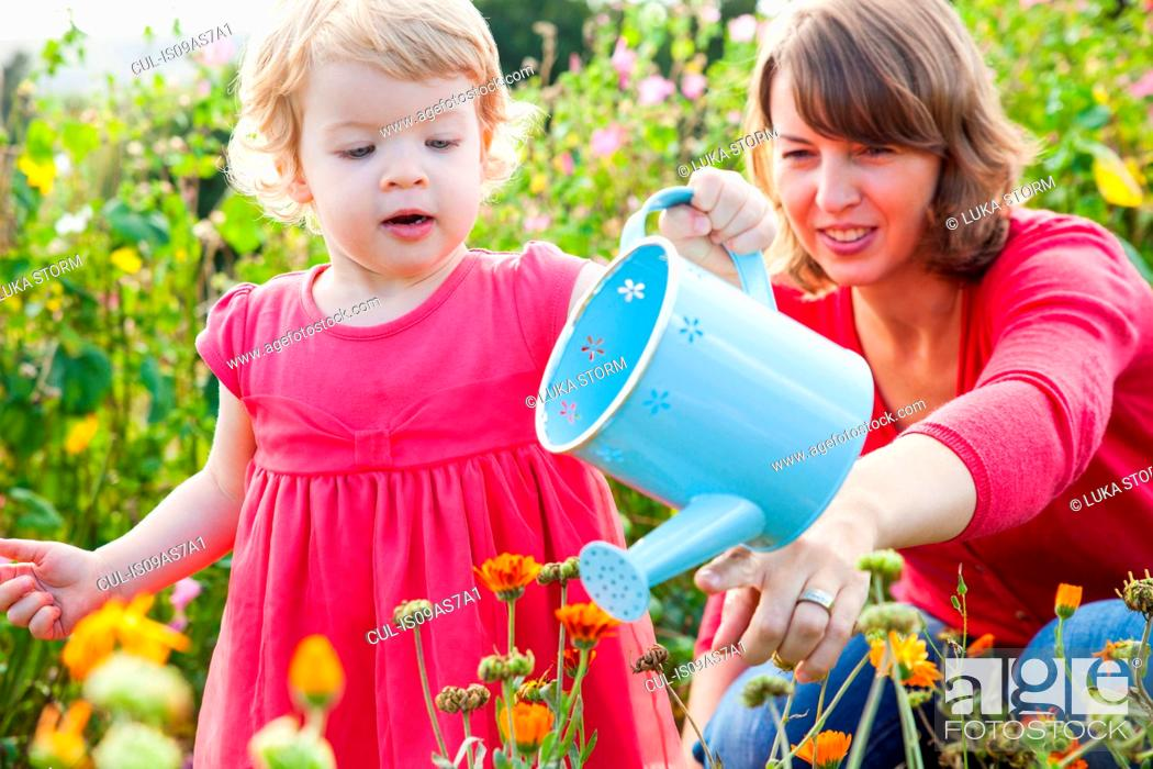 Stock Photo: Mid adult mother and toddler daughter watering flower field.
