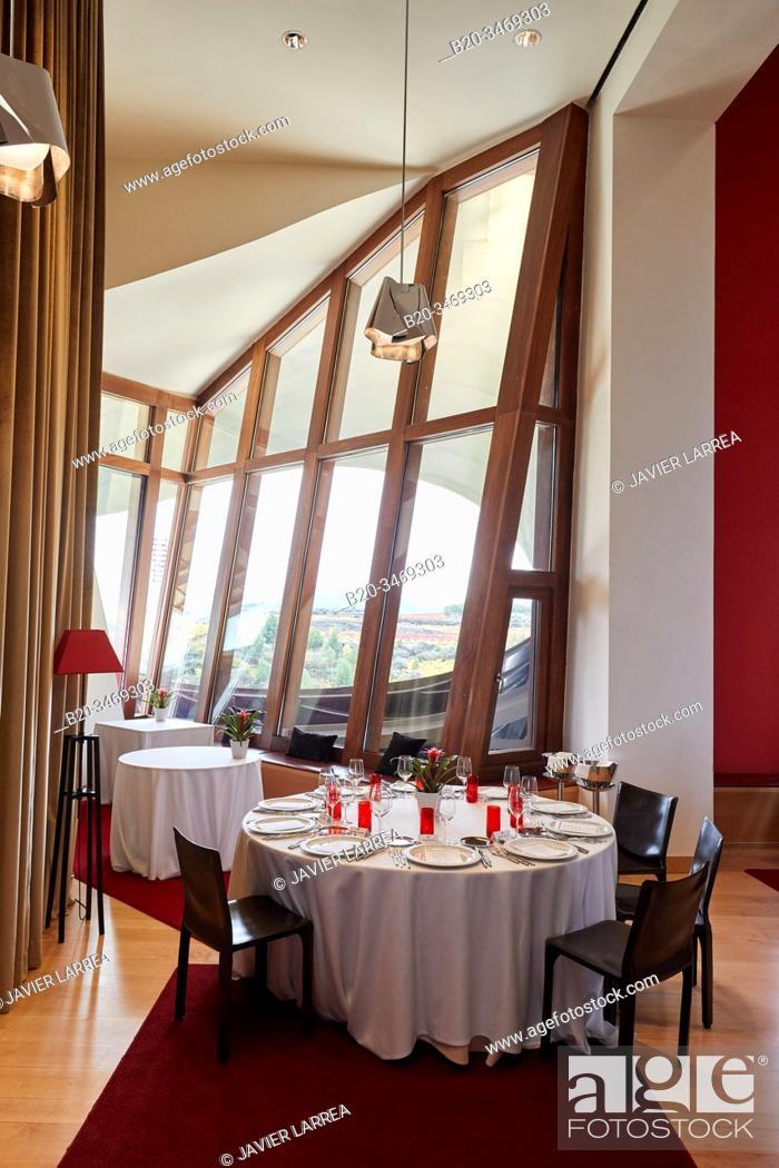 Stock Photo: Restaurant, Marques de Riscal winery, building by Frank O. Gehry, Elciego, Alava, Rioja Alavesa, Basque Country, Spain, Europe.