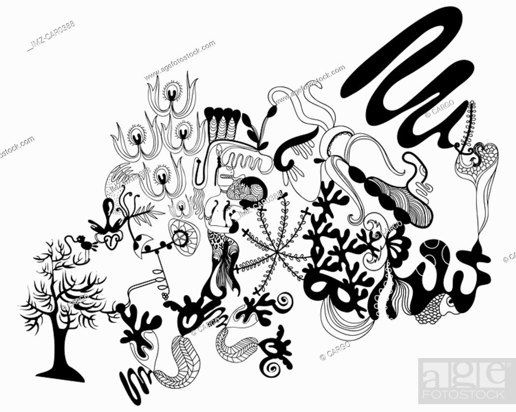 Stock Photo: Black and white abstract floral and bird pattern.