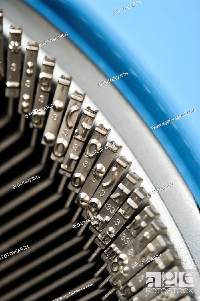 Stock Photo: Close up of typewriter typebars.