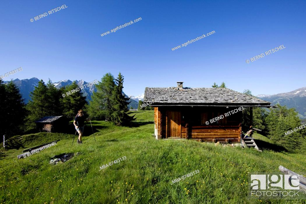 Stock Photo: Hiker on Weberstein, Hohe Tauern, East Tyrol, Austria.
