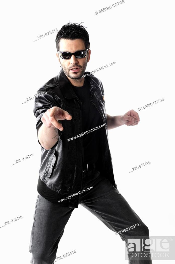 Stock Photo: Man pointing his index finger in position comica.