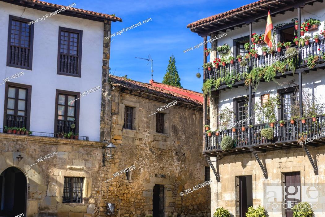 Stock Photo: Builldings on Plaza Mayor - main square in Santillana del Mar historic town located in Cantabria autonomous community in northern Spain.