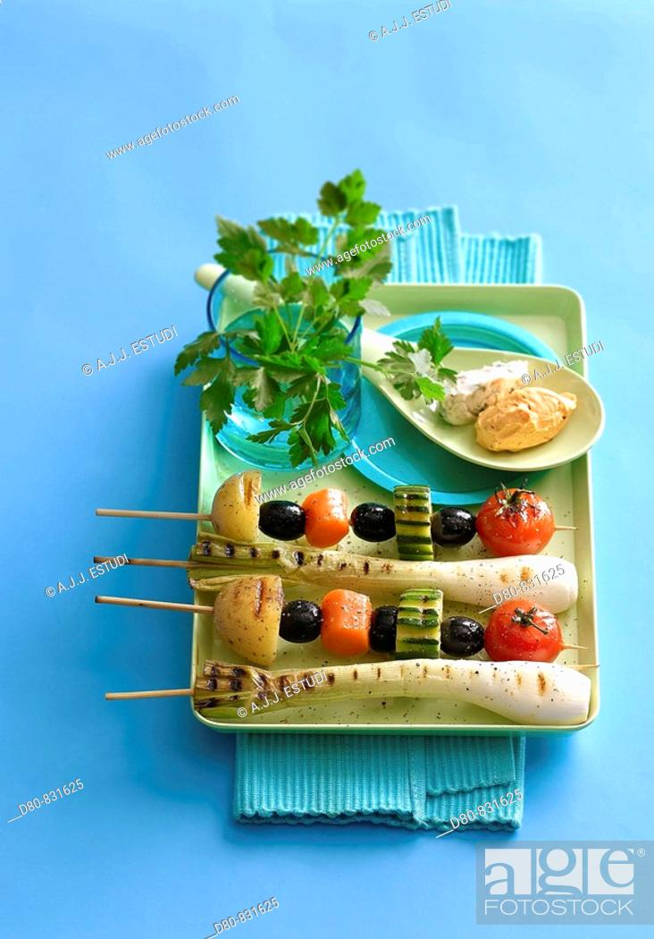 Stock Photo: Vegetable skewers.