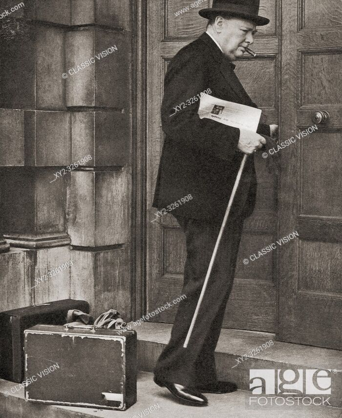 Stock Photo: Winston Churchill, seen here returning to the admirality in 1939 after being appointed First Lord of the Admiralty following the outbreak of the Second World.