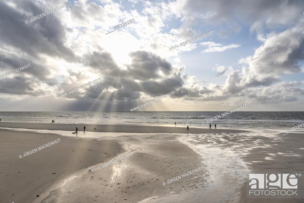 Stock Photo: Beach, Sankt Peter-Ording, Schleswig-Holstein, Germany, Europe.