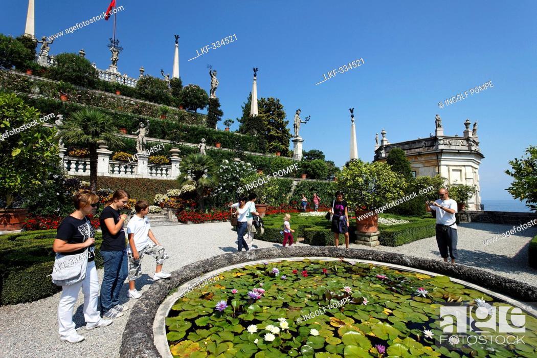 Stock Photo: Park, Borromean Palazzo, Isola Bella, Stresa, Lago Maggiore, Piedmont, Italy.