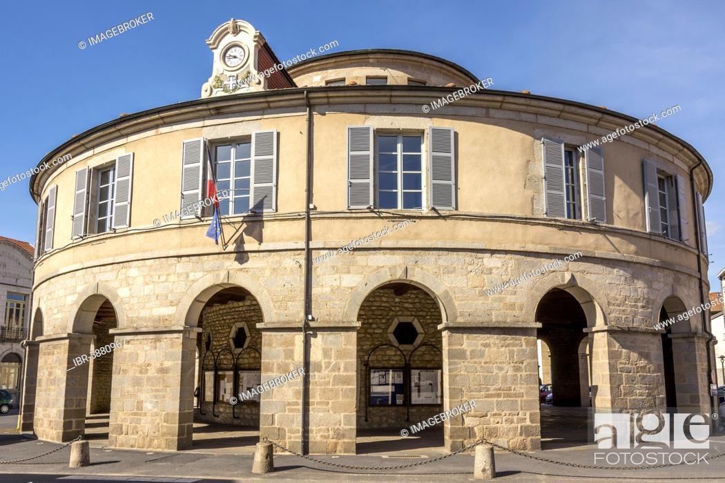 Stock Photo: Town hall circular of Ambert, Regional Nature Park of Livradois Forez, Puy de Dome department, Auvergne-rhone-Alpes, France, Europe.