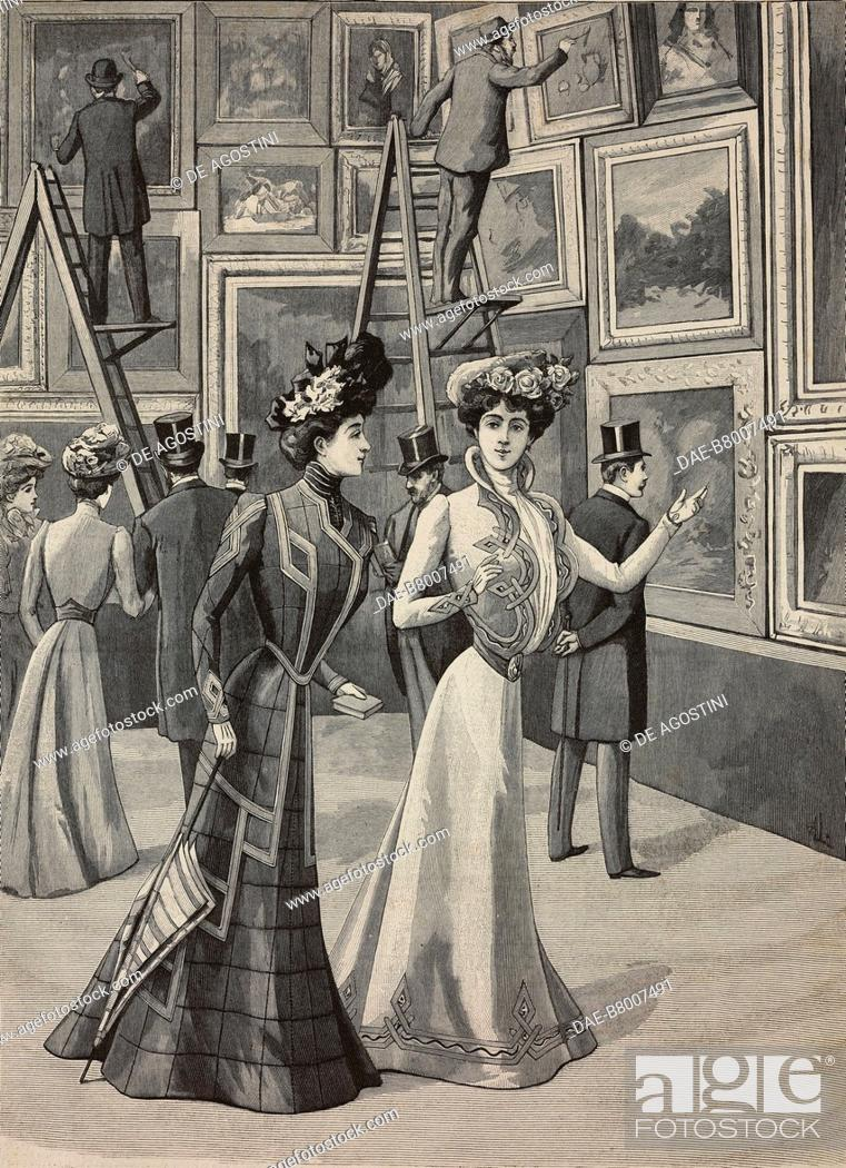 Imagen: At the painting exhibition: women wearing fashionable clothes, High Life Tailor advertising page, engraving from La Mode Illustree, No 19, May 12, 1901.