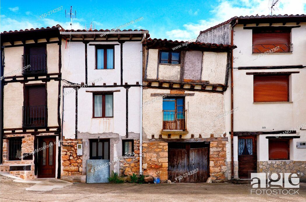 Stock Photo: architecture of old town of Covarrubias, Ruta del Cid, Burgos province, Castilla-León, Castile and León, Castilla y Leon, Spain, Europe.