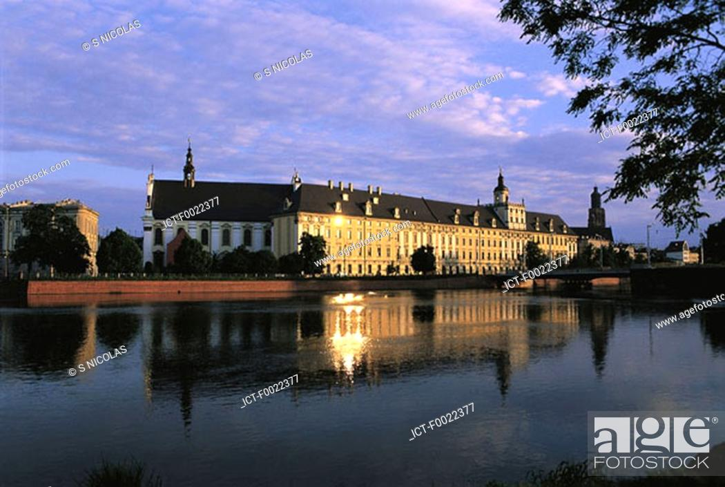 Stock Photo: Poland, Wroclaw, university at sunset.