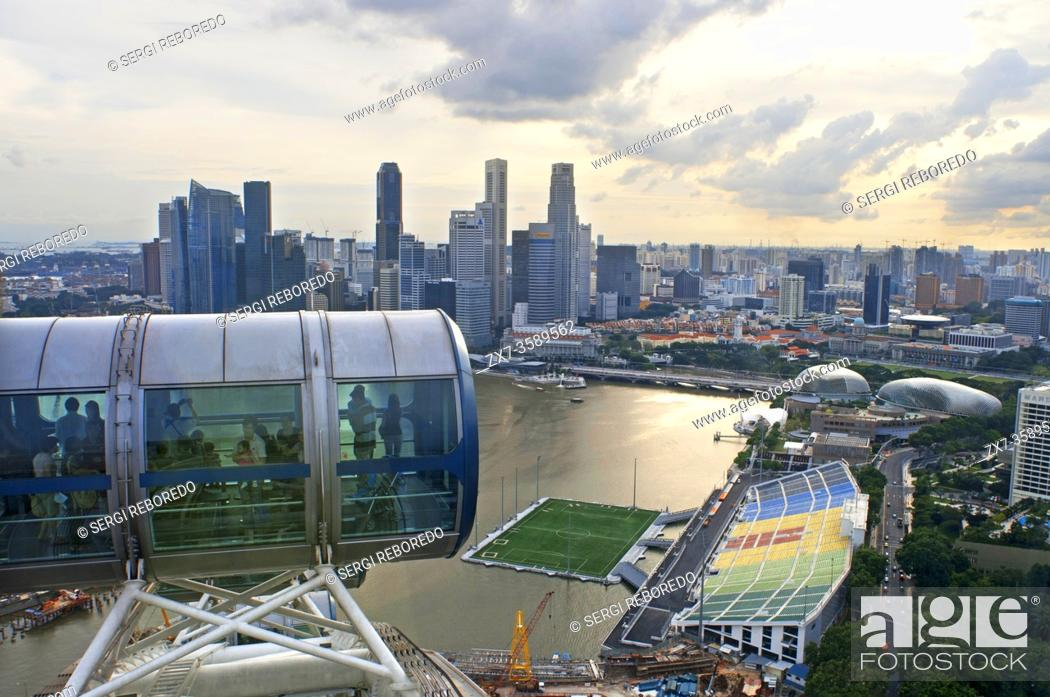 Stock Photo: Singapore flyer, views from iniside largest Ferries wheel in the world.