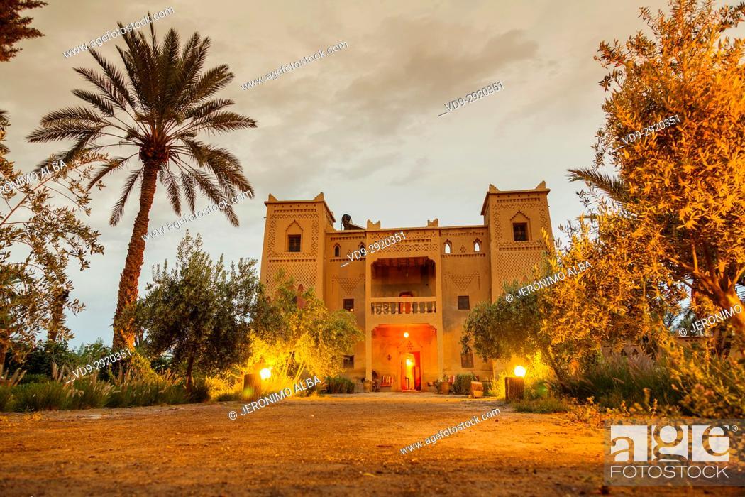 Stock Photo: Hotel Espace Kasbah Dar Es Salam, Skoura oasis Palm Grove Palmeral. Morocco, Maghreb North Africa.