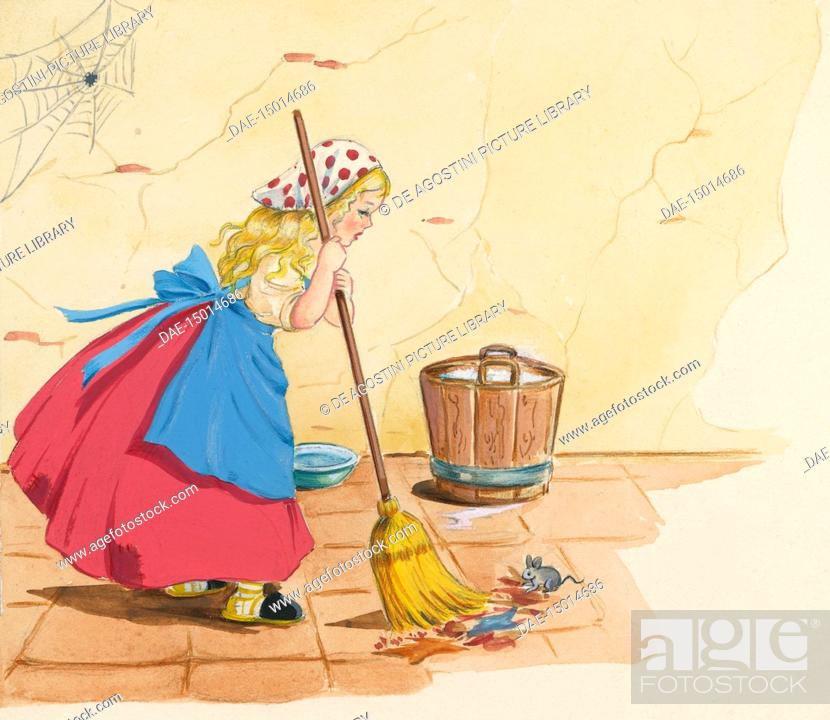 Stellina cleaning the floor, illustration for the Italian