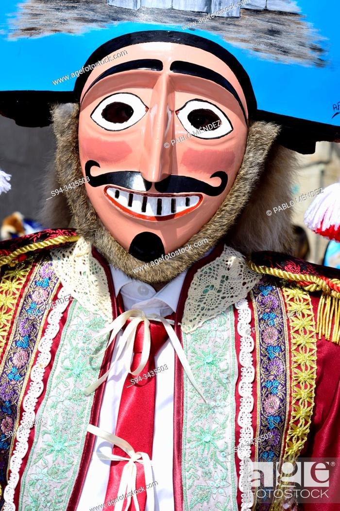 Stock Photo: Mazcaras. Winter masks of A Xironda carnival of A Xironda, Cualedro, Orense, Galicia, Spain.