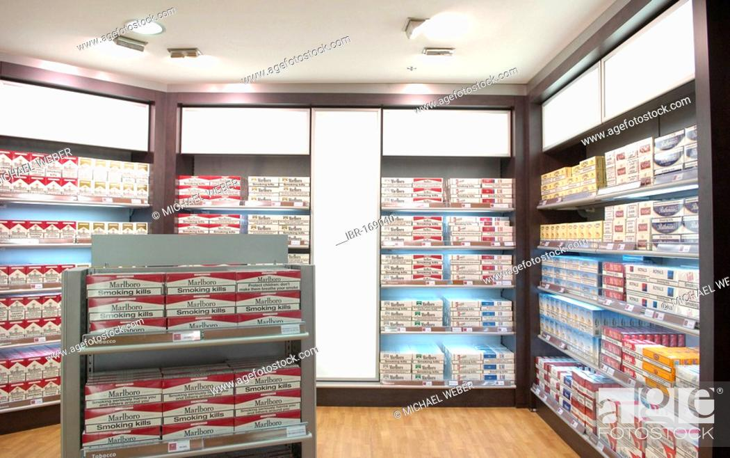 Cartons of Cigarettes in Duty-Free Shop Airport Tenerife Sur Canary