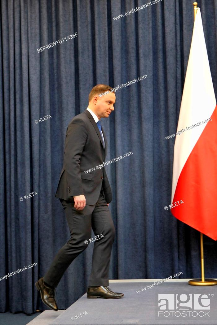 Imagen: February 6, 2018 Warsaw, Poland. Press Conference. Pictured: President of Poland Andrzej Duda.