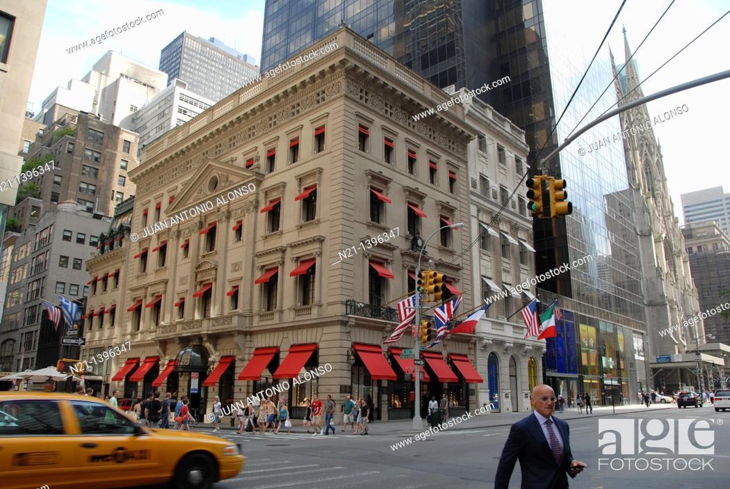 Stock Photo: East 52nd Street at Fifth Avenue. Midtown Manhattan. New York, New York. USA.