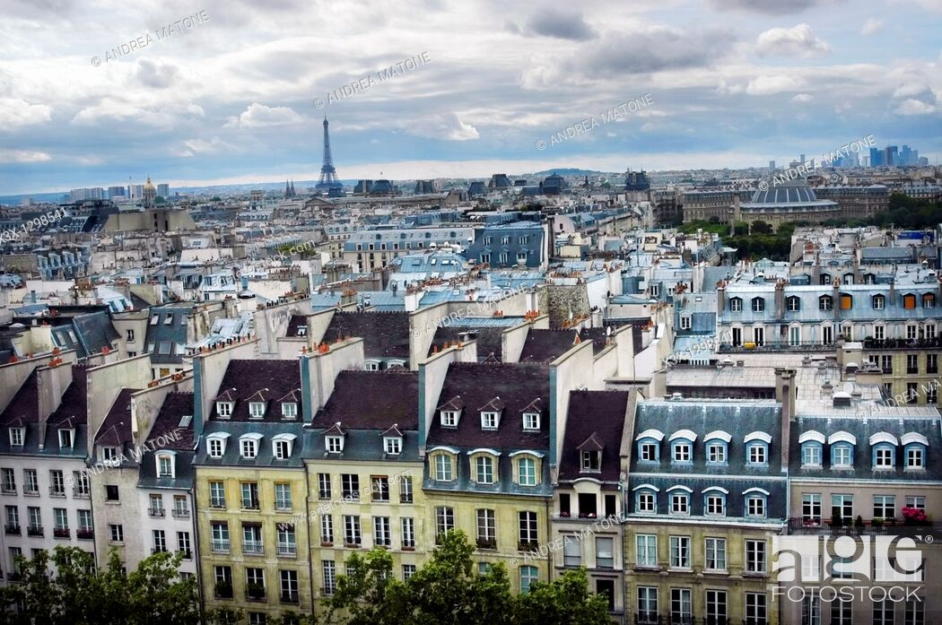 Stock Photo: Paris France Cityscape with the Eiffel tower in the distance.