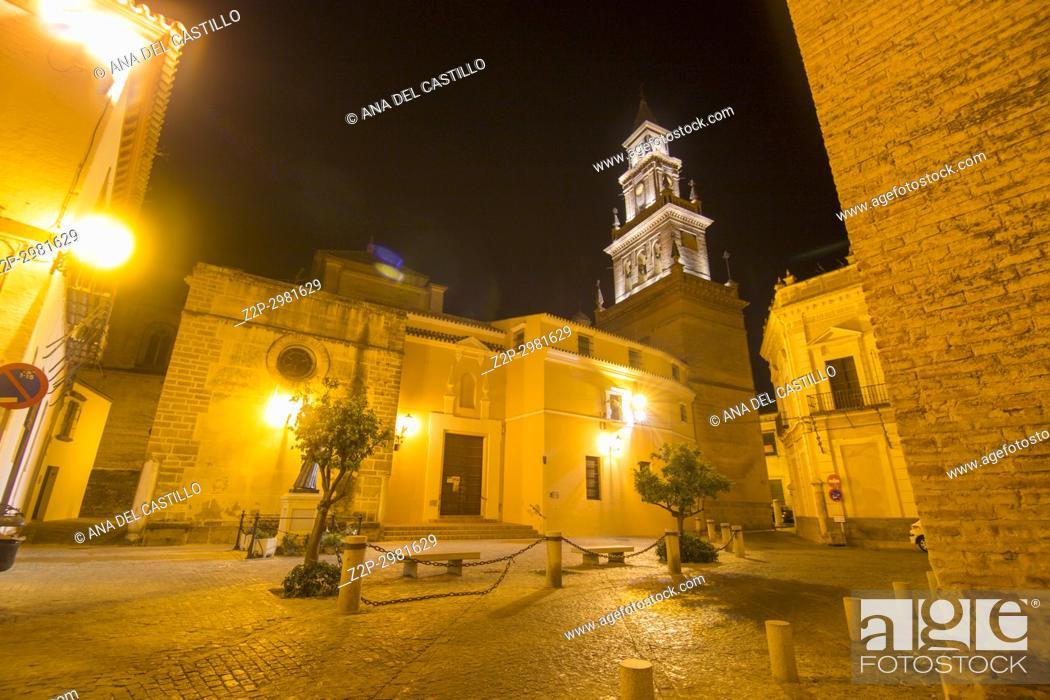 Stock Photo: Church of Santa Maria de la Asuncion by night Carmona, Spain.