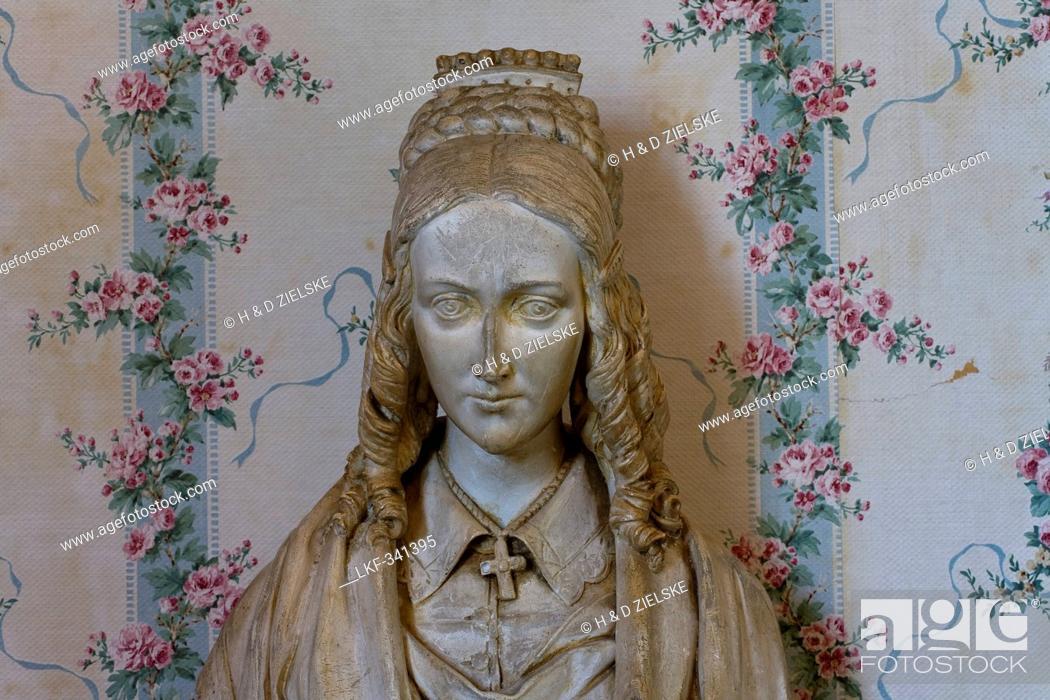 Stock Photo: Bust of poetess Annette von Droste-Huelshoffs at Castle Meersburg, Meersburg, Lake Constance, Baden-Wuerttemberg, Germany, Europe.
