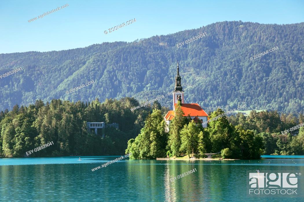 Stock Photo: Lake Bled, pilgrimage church of the assumption of maria in Slovenia.