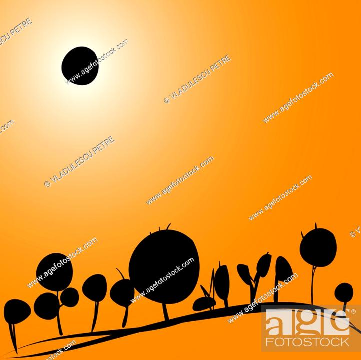 Vector: landscape with solar eclipse.