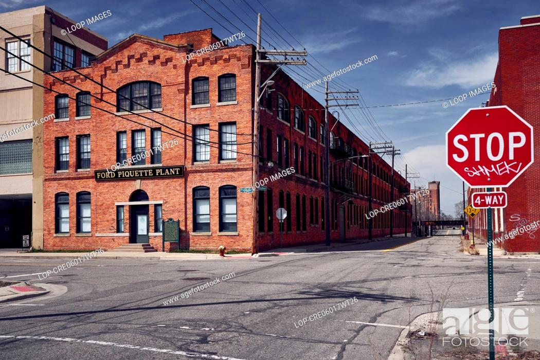 Stock Photo: Ford Piquette plant from the road side in Detroit.