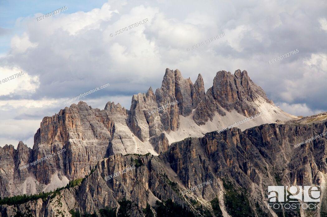 Stock Photo: View to Coda de Lago, Dolomite Alps, Italy, Alta Via Dolomiti.